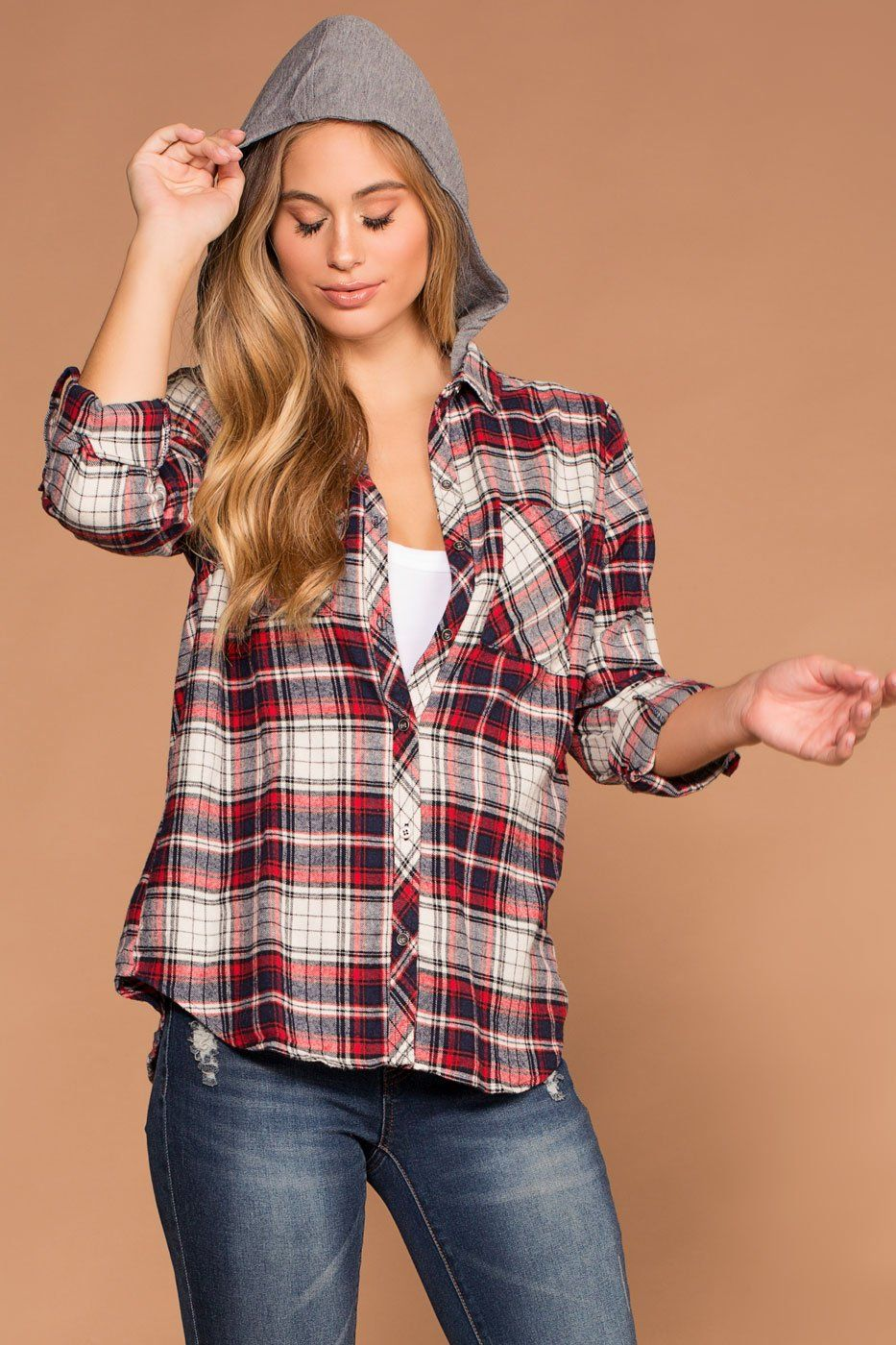 Cora Red Plaid Detachable Hoodie Top | Shop Priceless