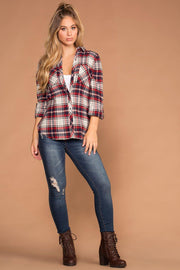 Red Plaid Detachable Hoodie Top