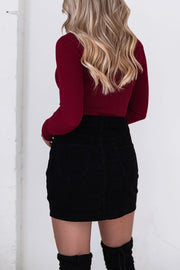 Black Corduroy Button Skirt