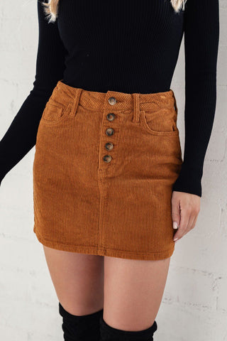 First Cut Camel Corduroy Skirt