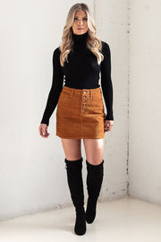 Tan Corduroy Button Skirt
