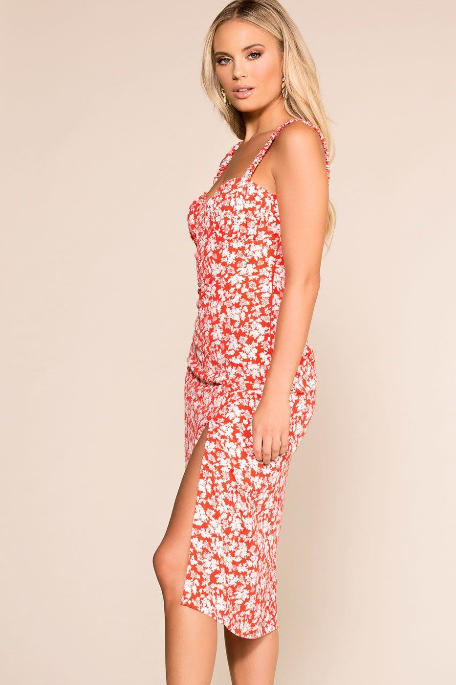Priceless | Red | Floral | Midi Dress | Womens