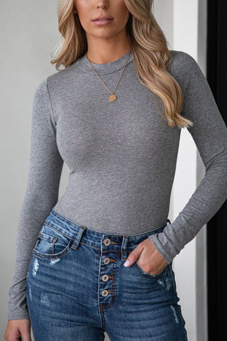 In The Middle Charcoal Loose V-Neck Tee