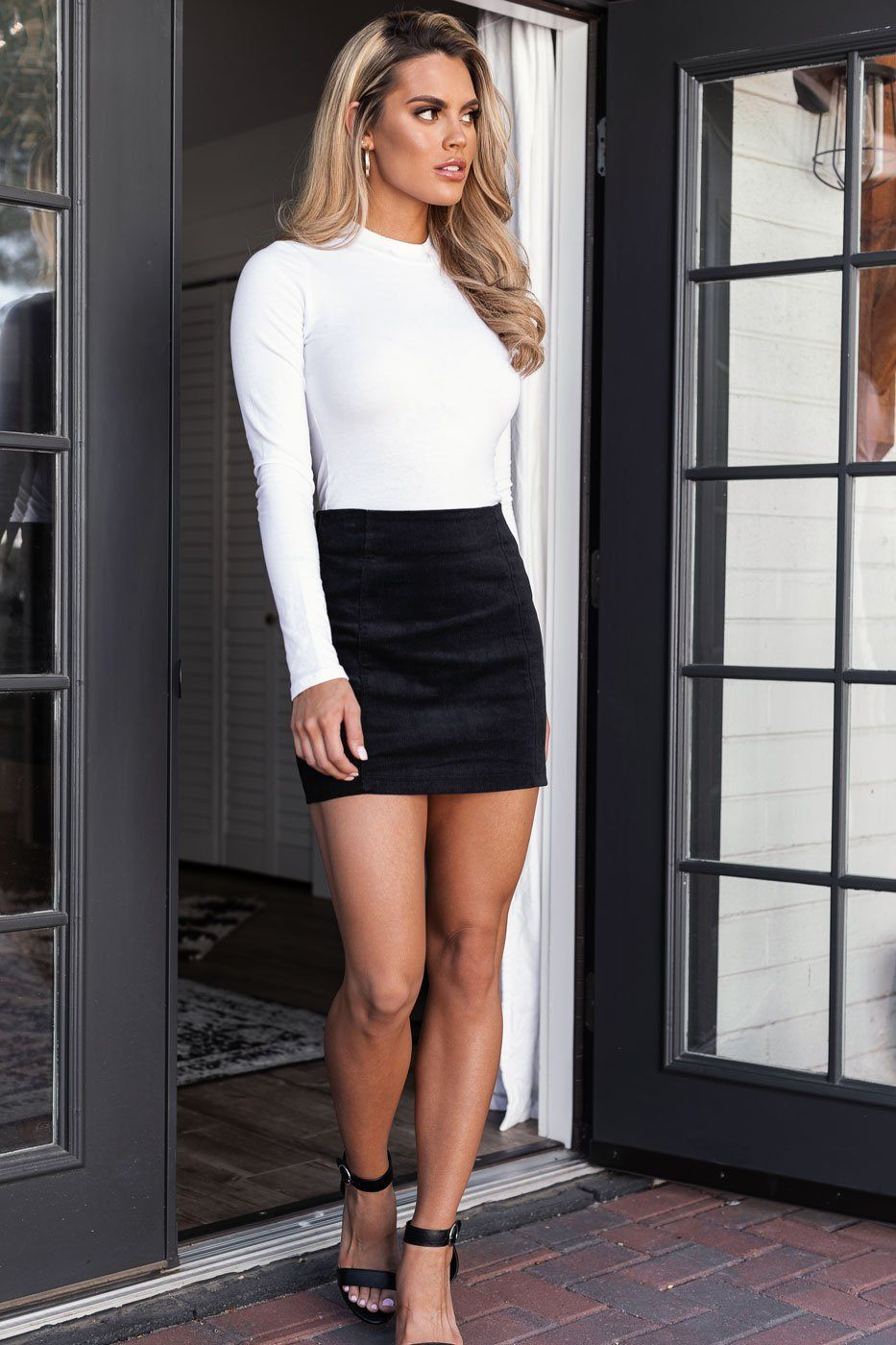 Black Corduroy Mini Skirt