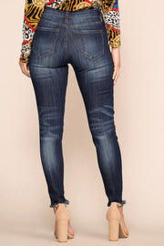 Mid-Rise Distressed Skinny Jeans Dark Wash