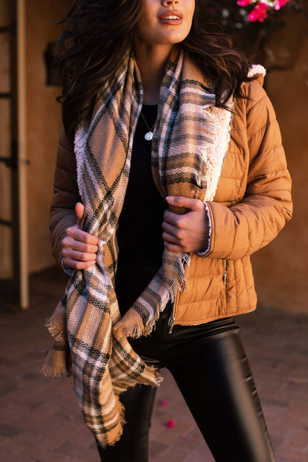Courage Biege Plaid Blanket Scarf
