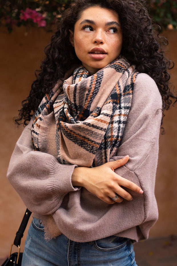 Courage Taupe Plaid Blanket Scarf