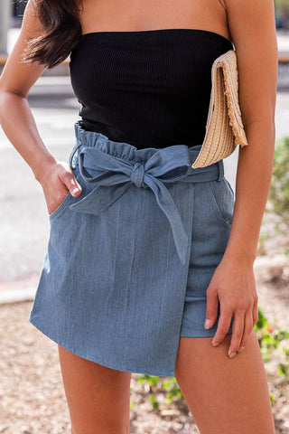 All Washed Up Medium Wash Distressed Denim Mini Skirt