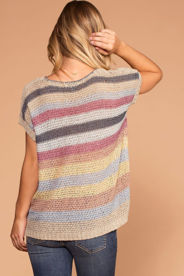 Casual Stripe Knit Sweater