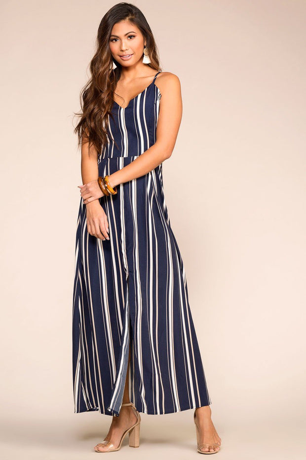 Navy Striped Maxi Dress