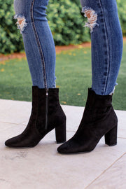 Cravings Black Vegan Suede Sock Booties