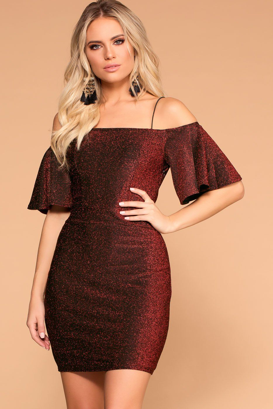 Priceless | Red | Glitter | Off the Shoulder | Bodycon Dress | Womens
