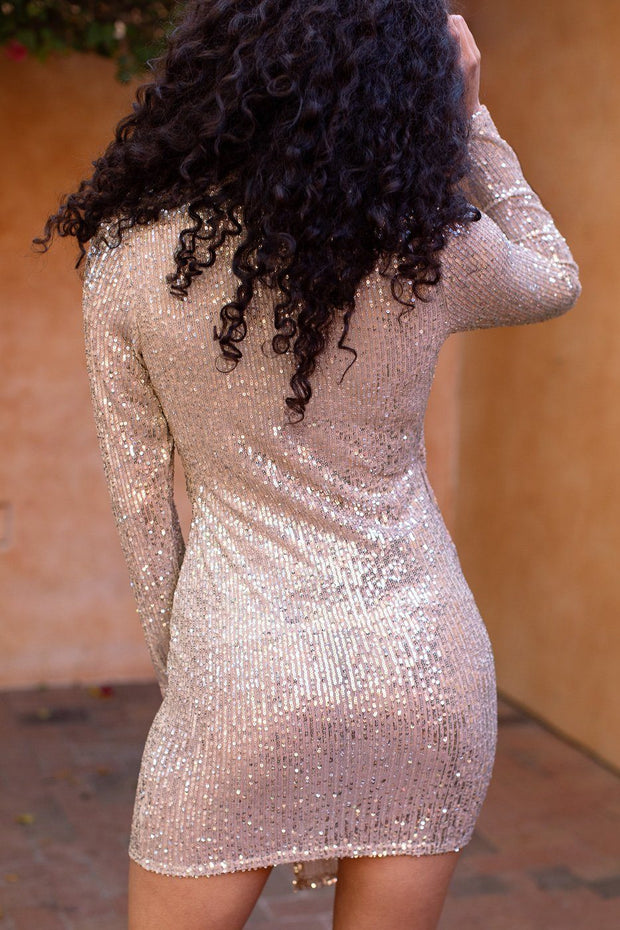 Crystal Ball Gold Sequin Asymmetrical Mini Dress
