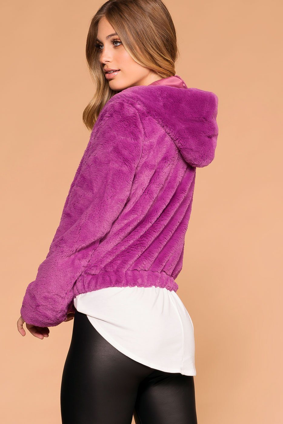 Violet | Faux Fur Bomber Jacket | Hoodie | Womens | Priceless