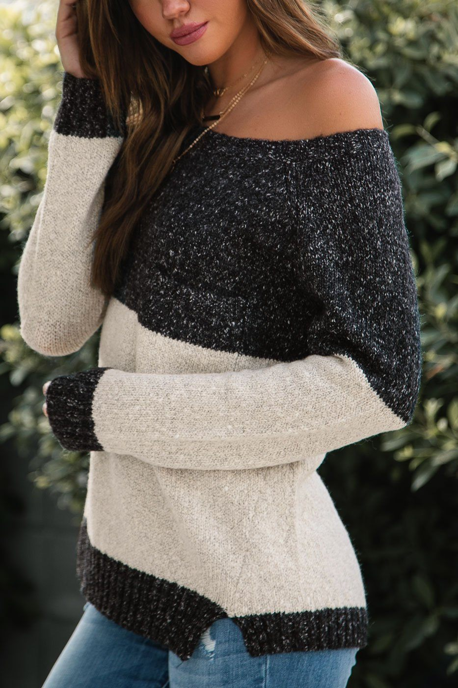 Oversize Knit Sweater in Charcoal and Ivory