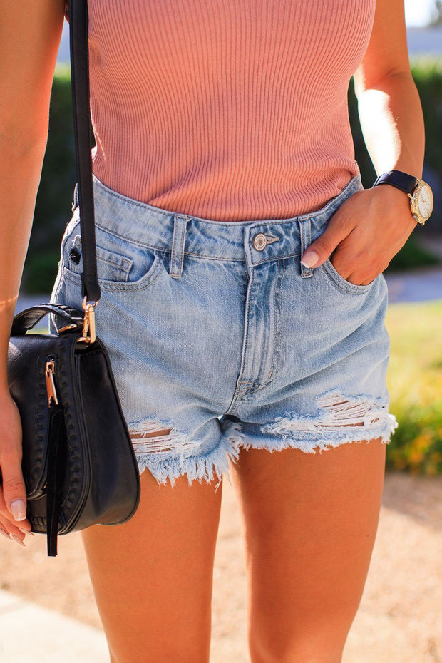Distressed Denim Cut-Off Shorts