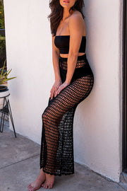 Black Crochet Maxi Skirt