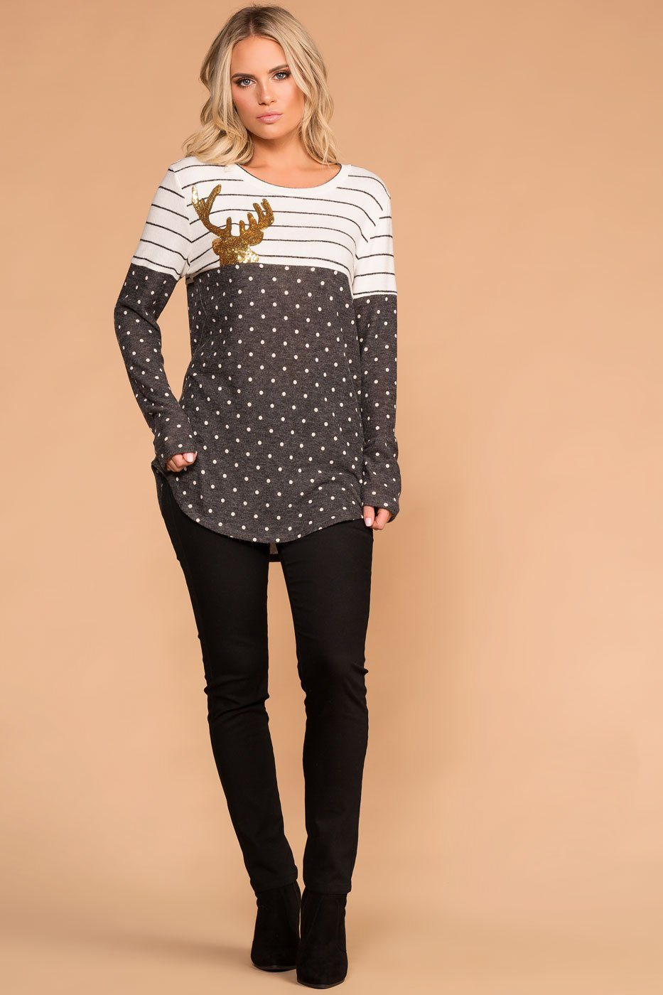 Priceless | Stripe Polka Dot Sequin Deer Top | Long Sleeve | Womens