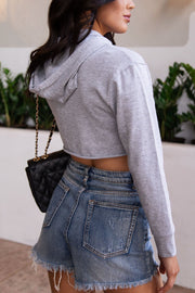 Heather Grey Crop Hoodie Top