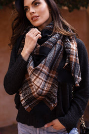 Daya Black Plaid Blanket Scarf