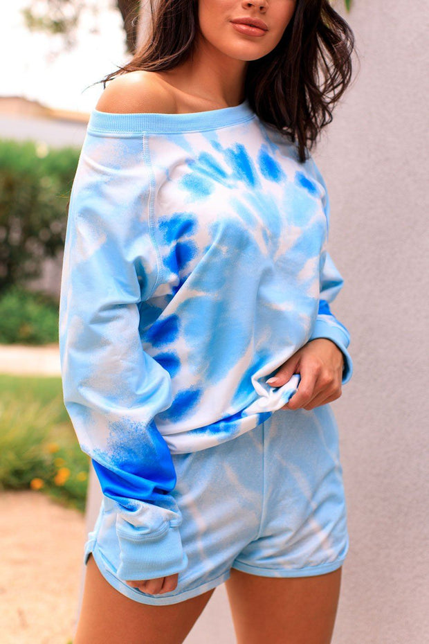 Blue Tie-Dye Long Sleeve Top