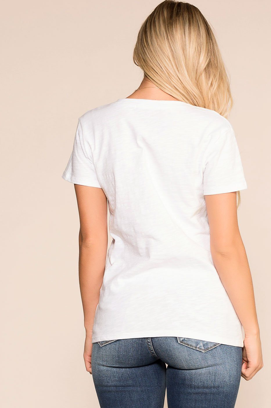 Priceless | White | Floral | V-Neck Tee | Womens