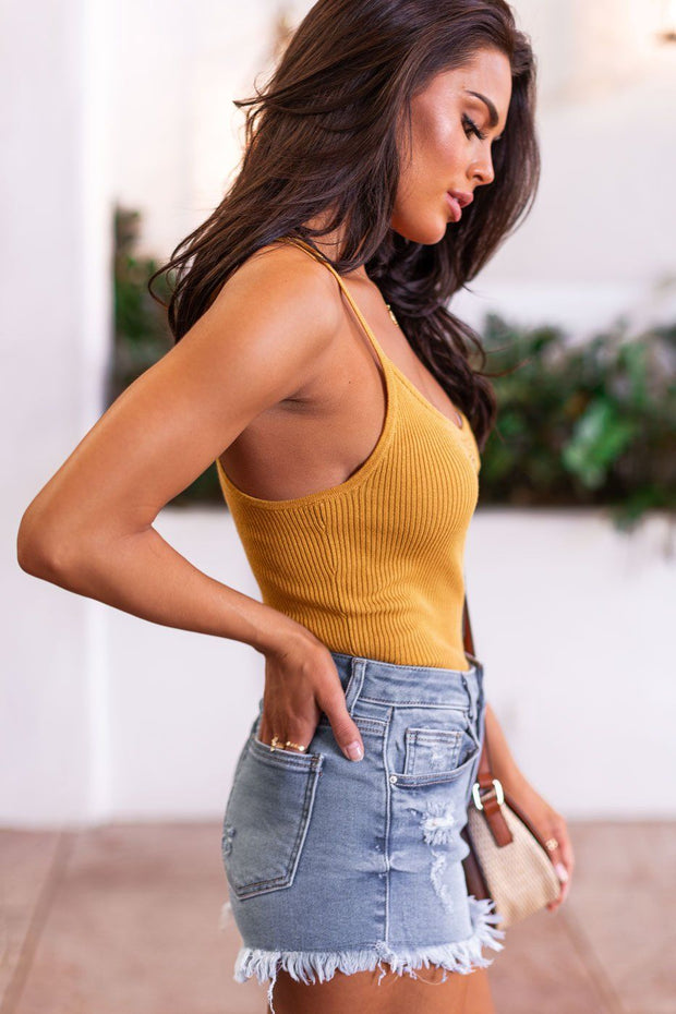 Daylight Mustard Button Tank Ribbed Top