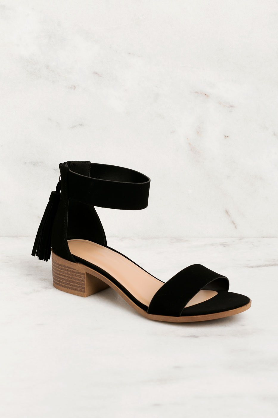 Daytime Black Low Block Heel Sandals | Fortune Dynamic