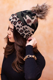 Leopard and Camo Beanie