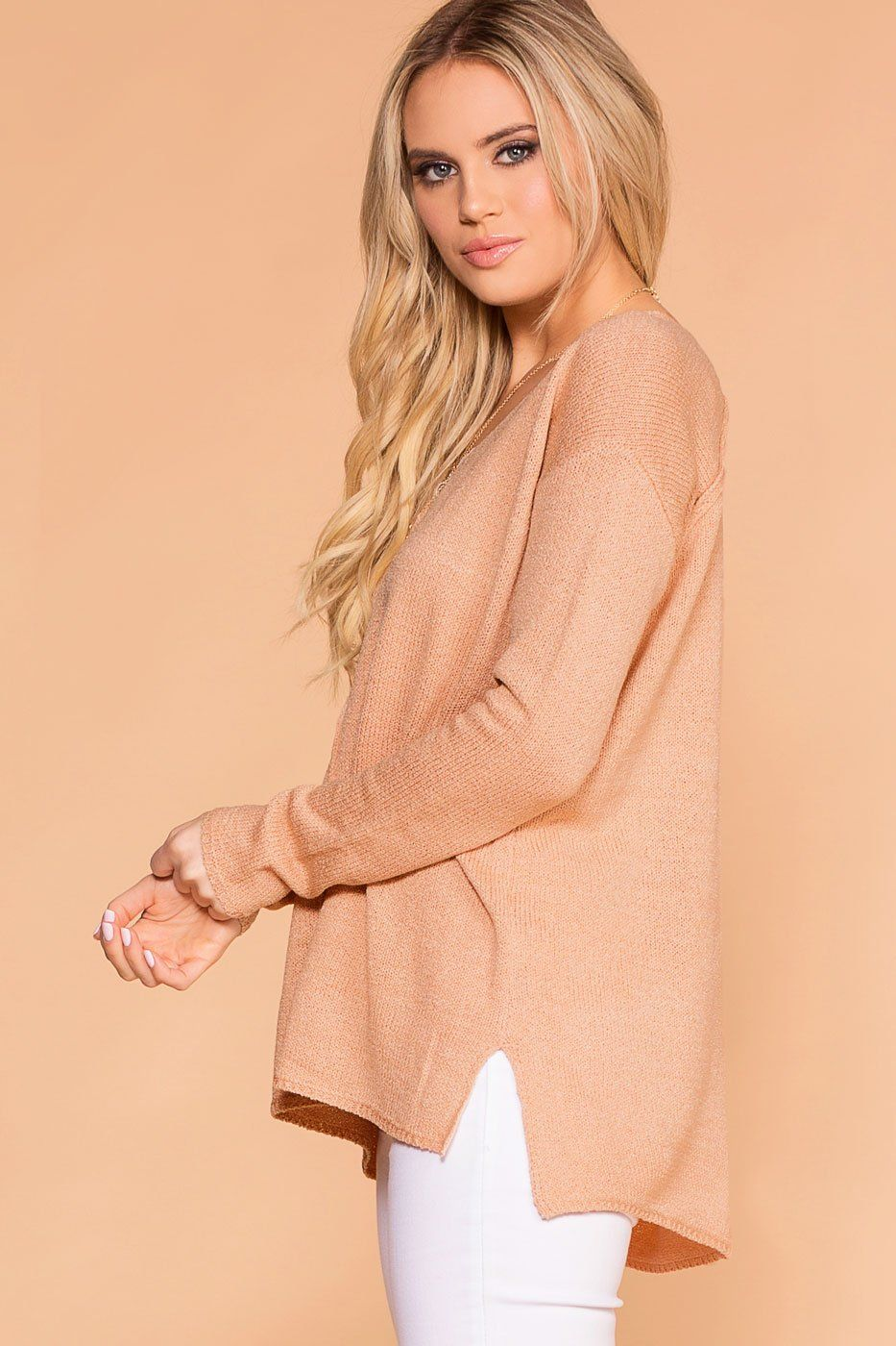 Peach V-Neck Loose Knit Sweater