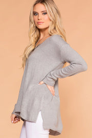 Grey V-Neck Loose Knit Sweater