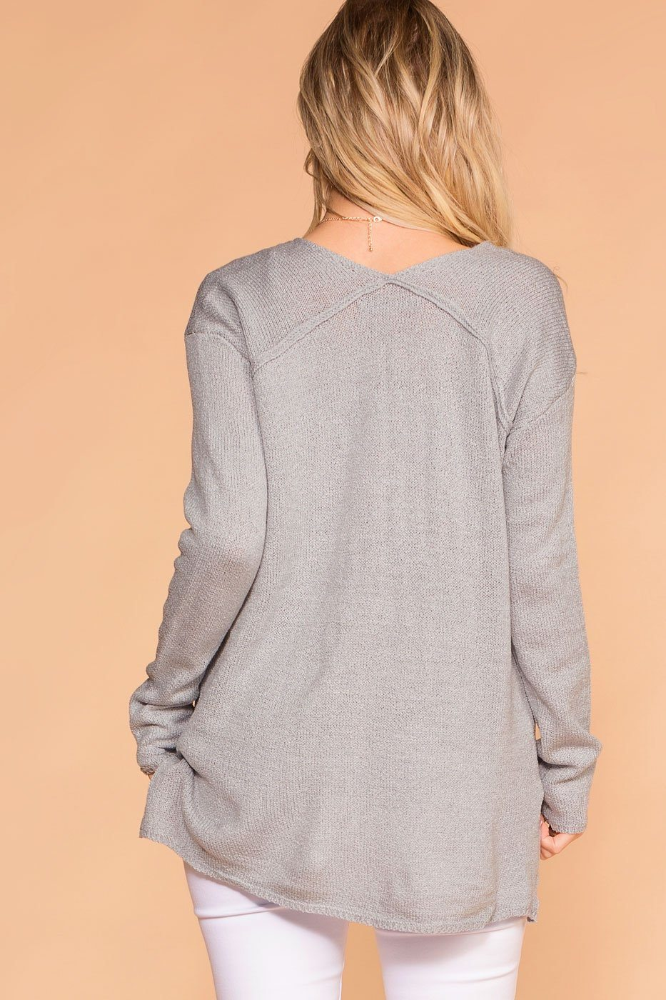 Priceless | Grey | Knit Sweater | V-Neck Sweater | Womens