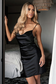 Demeter Black Satin Mini Dress