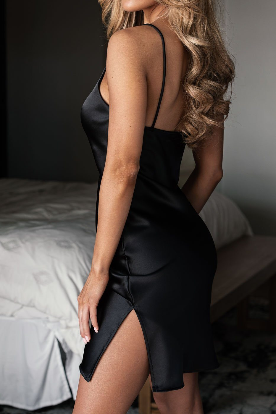 Black Satin Mini Dress