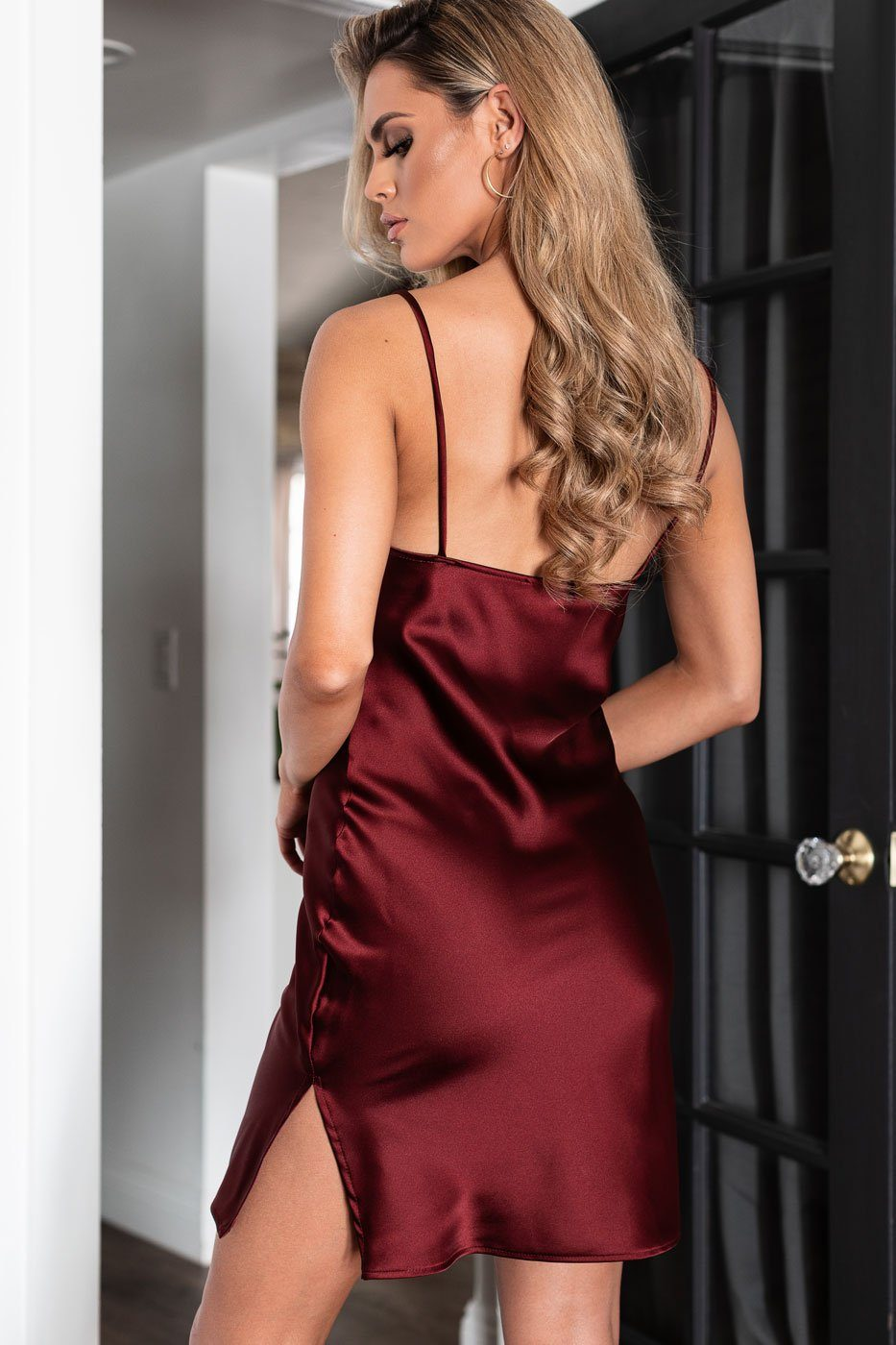 Wine Satin Mini Dress