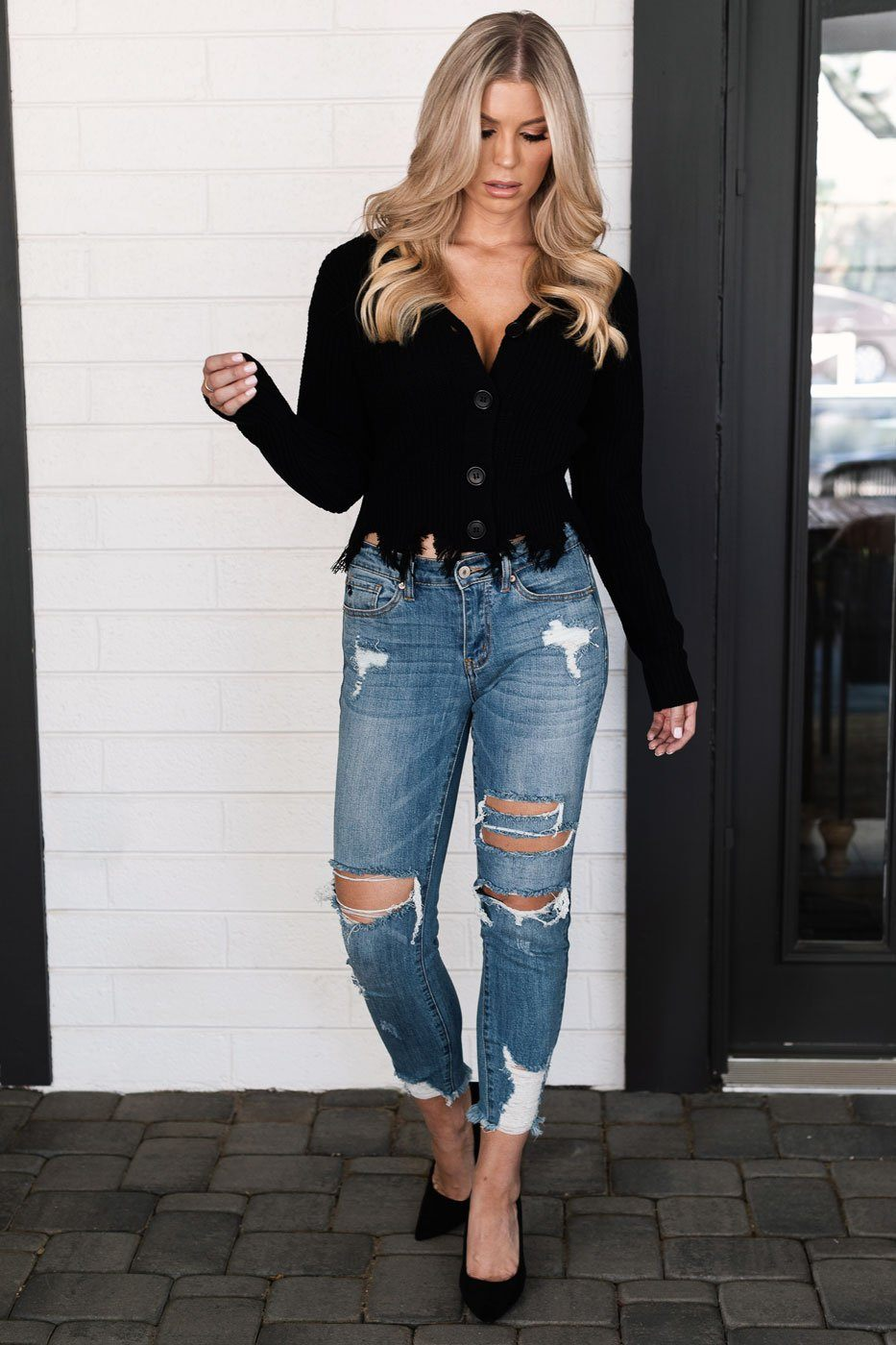 Black Distressed Cardigan