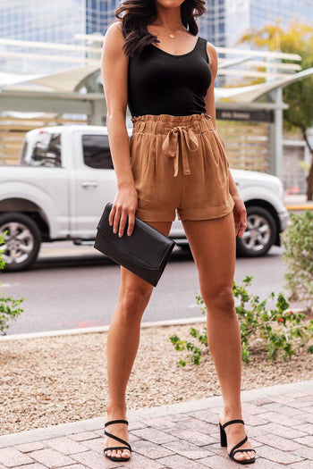 Camel Tie-Front Paperbag Shorts