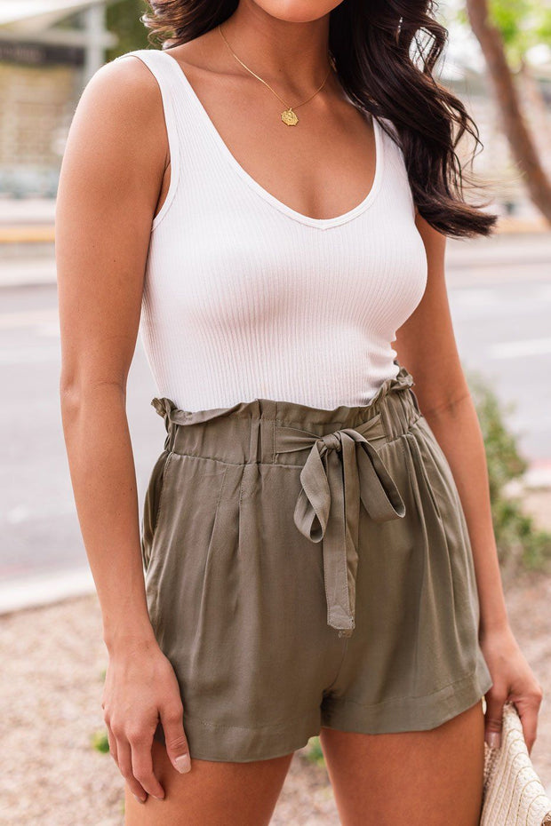 Olive Tie-Front Paperbag Shorts