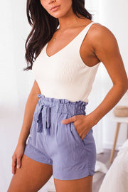 Periwinkle Tie-Front Paperbag Shorts