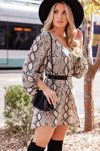 Snakeskin Balloon Sleeve Shift Dress
