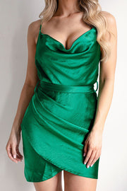 Green Satin Wrap Dress