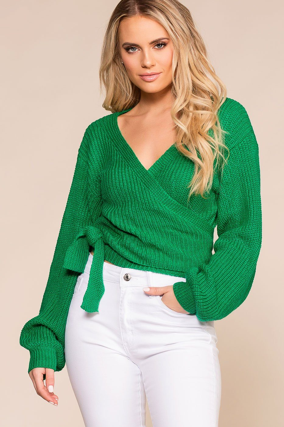2ce5b9ebd4d2 Dewdrop Green Knit Wrap Sweater Top | In The Beginning