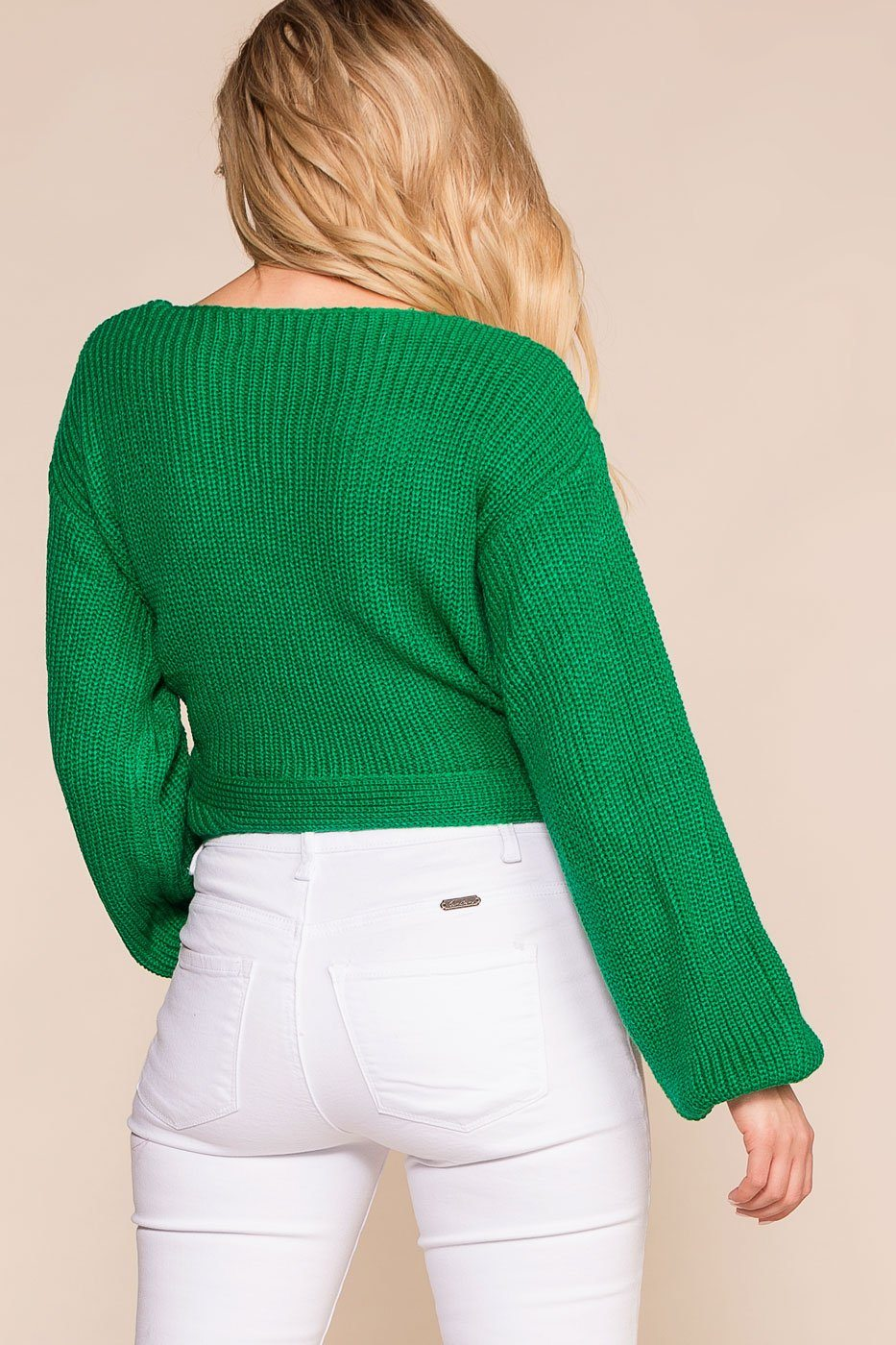 Priceless | Green | Wrap Sweater | Womens
