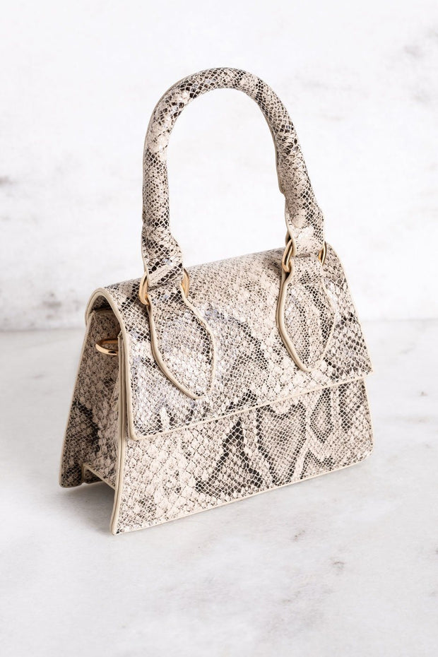 Dezra Mini Beige Snakeskin Purse