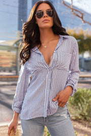 Did It My Way Blue Striped Button-Up Top
