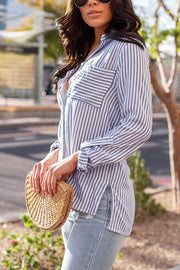 Blue Striped Button-Up Top