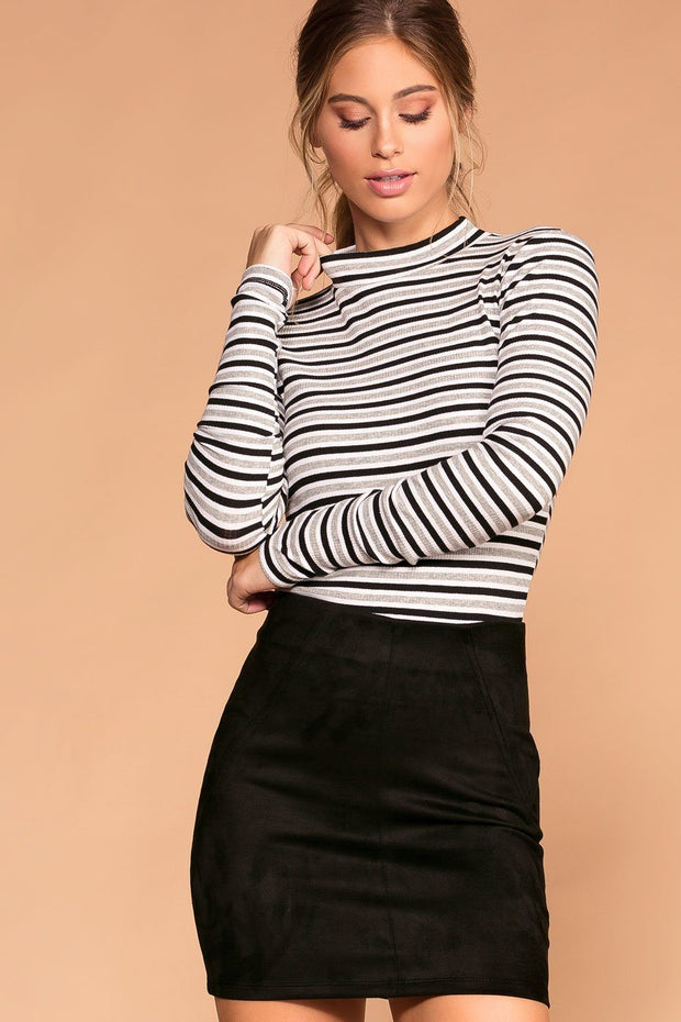 Dina White and Grey Stripe Turtleneck Top | Shop Priceless