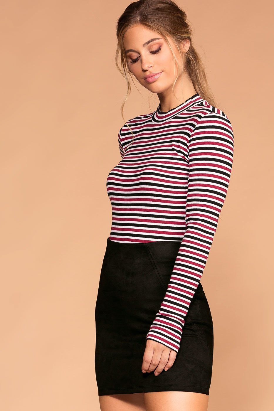 White and Burgundy Stripe Turtleneck Long Sleeve