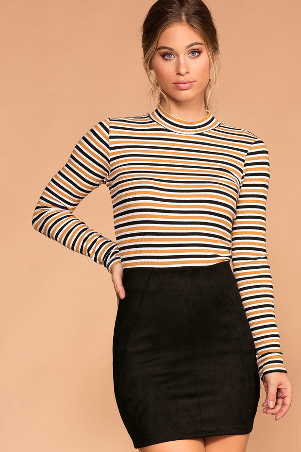 White and Mustard Stripe Turtleneck Long Sleeve Top