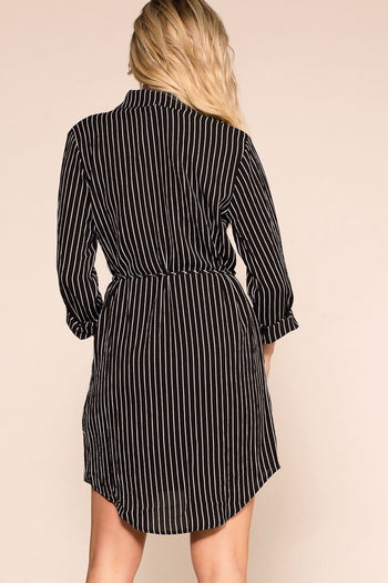 Black Stripe Button Up Dress Long Sleeve